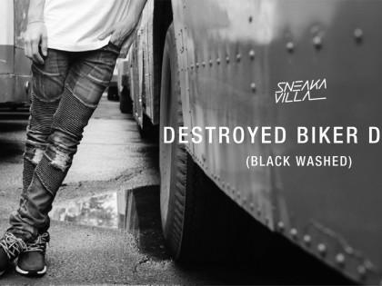 SneakaVilla Destroyed Biker pants (Black Washed)