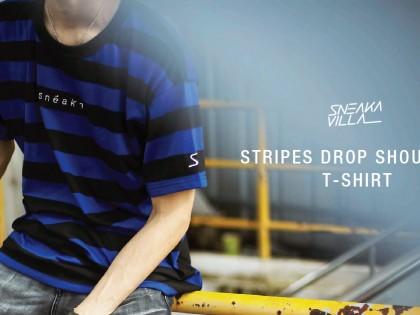 SneakaVilla Stripe Drop Shoulder T-shirt