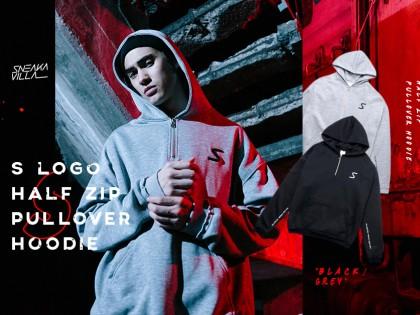 SneakaVilla S logo Half Zip Pullover Hoodie
